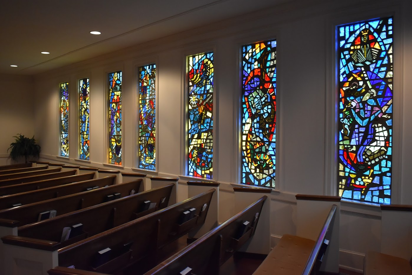 sanctuary with stained glass windows