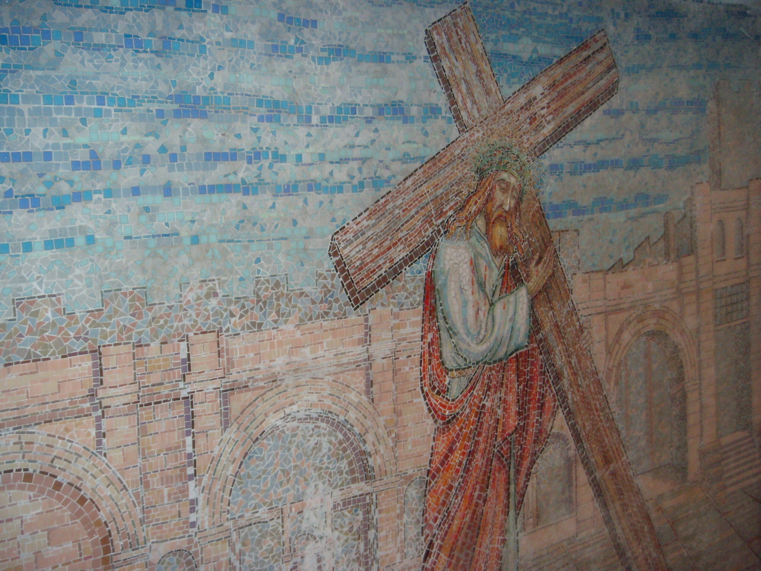 mural of Jesus carrying cross